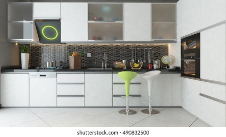 white ceramic white color wooden furniture under light modern kitchen 3D design and rendering for your project by Sedat SEVEN