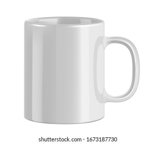 White ceramic mug. Cup on transparent background. Realistic style. 3D style.