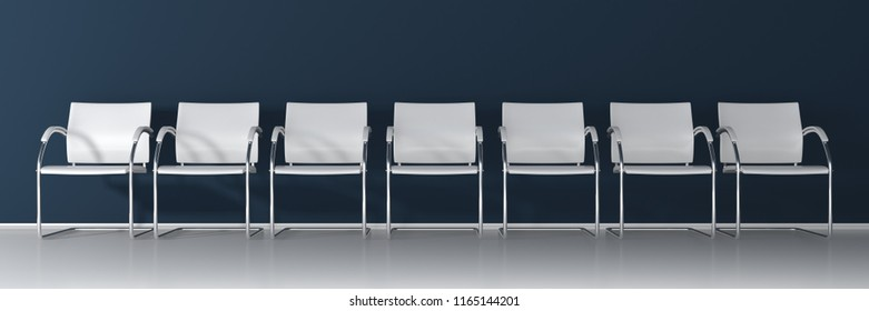 White chairs on dark background - wide banner 3D render