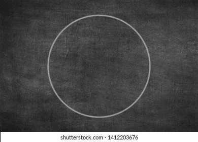 White chalk hand drawing as circle shape on black board background