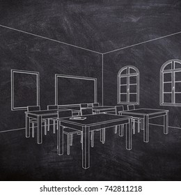 White chalk sketch of empty furnished classroom on blackboard background