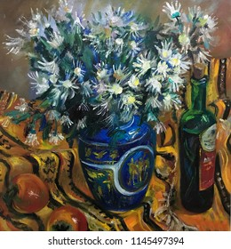 White chamomile flowers in a large vase, bottle. Art composition is decomposed on a bright orange cloth. New still-life painted by paints, brushes, professional artist. textural brush-strokes realism