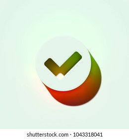 White Check Circle Icon. 3D Illustration of White Approve, Check, Circle, Correct, Mark, Status, Ye Icons With Orange and Green Gradient Shadows.