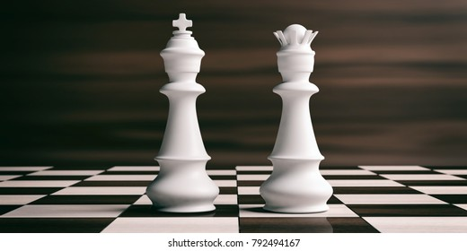 White chess king and queen on a chess board, brown wooden background. 3d illustration