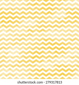 White Chevron Pattern on Yellow Watercolor Background, Seamless Texture, Digital Paper