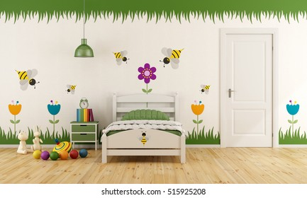 White child bedroom with single bed,closed door and colorful decoration - 3d rendering