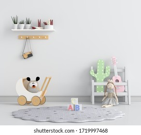 White child room interior for mockup, 3D rendering