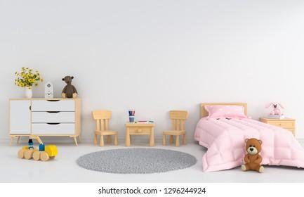 White children room interior for mockup, 3D rendering