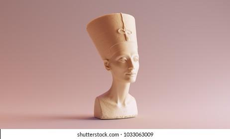 White Chocolate Bust of Nefertiti 3d illustration