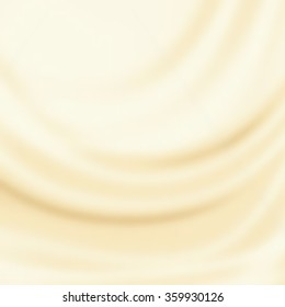 white chocolate or silk fabric texture, beige abstract background, smooth wave pattern