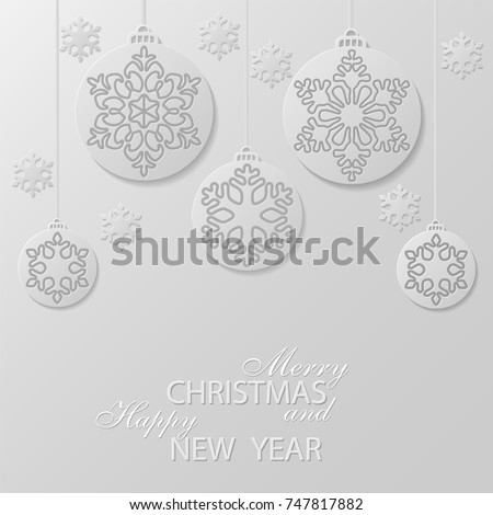 white christmas balls with a snowflakes cut out of paper decorative design elements holiday - Cut Out Christmas Decorations