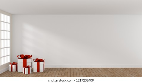 White Christmas gift boxes in a bright room with space for text or image, 3d rendering