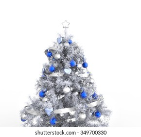 white christmas tree with blue decorations
