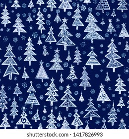 White Christmas trees on blue background.  Seamless graphic pattern made with elements of zentangl and doodle.