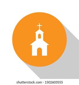 White Church building icon isolated on white background. Christian Church. Religion of church. Orange circle button. Flat design