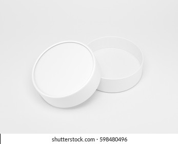 White cilindrical box mockup 3d rendering