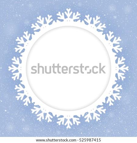 White Circle Frame Snowflake Falling Snow Stock Illustration ...