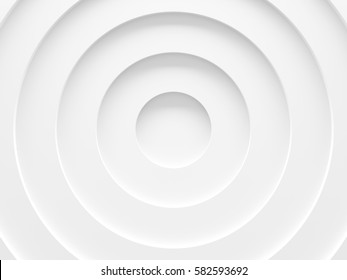 White circles abstract background. Simple and clean. 3D illustration.