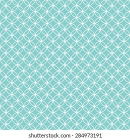 White Circles or Rings on Turquoise Background