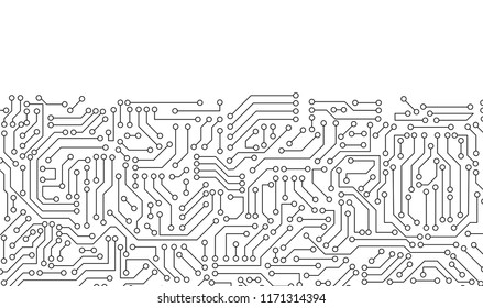 White circuit board pattern texture. High-tech background in digital computer technology concept. 3d abstract illustration.