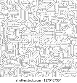 White circuit board seamless pattern texture. High-tech background in digital computer technology concept. Abstract illustration.
