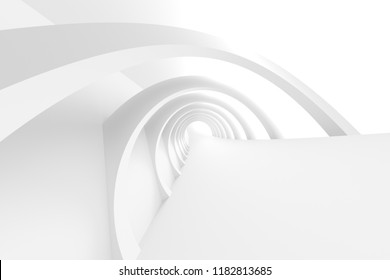 White Circular Building. Modern Geometric Wallpaper. Futuristic Technology Design. Abstract Architecture Background. 3d Illustration