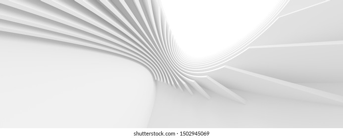 White Circular Building. Modern Geometric Wallpaper. Futuristic Technology Design. Abstract Architecture Background. 3d Rendering