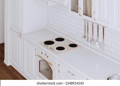 White Classic Kitchen Furniture Closeup 3d render