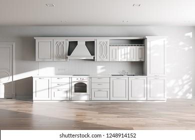 White Classic Kitchen Furniture in New Minimalistic Interior 3D render