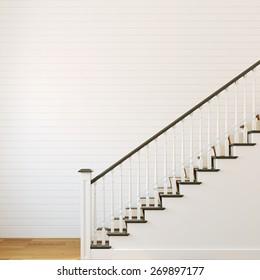 White classic stairway. 3d render.