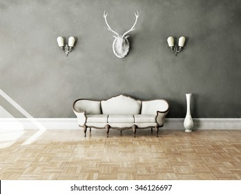 White classical style sofa in vintage room. 3D illustration