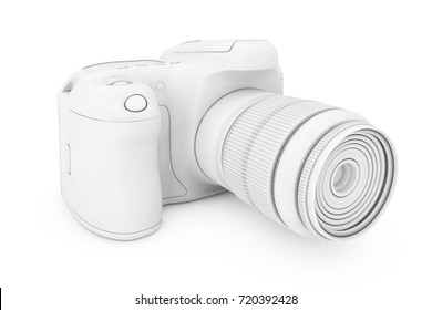 White Clay Mockup Modern Digital Photo Camera on a white background. 3d Rendering