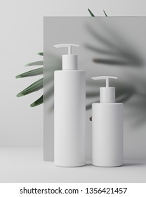 White clean design of natural cosmetic cream, serum, skincare blank bottle packaging with leaves herb, bio organic product. beauty and spa concept. 3d illustartion. Herbal dermatology hygienic