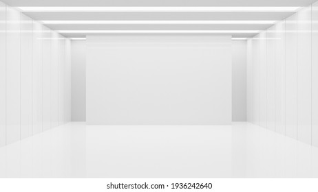 White clean empty architecture interior space room studio background wall display products minimalistic. 3d rendering.