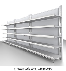 white clean shelves at an angle. 3d image