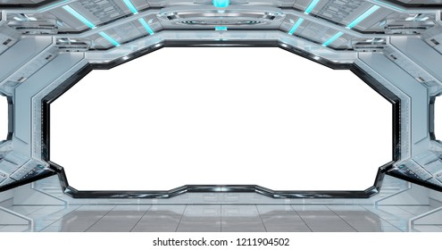 White clean spaceship interior with white background 3D rendering
