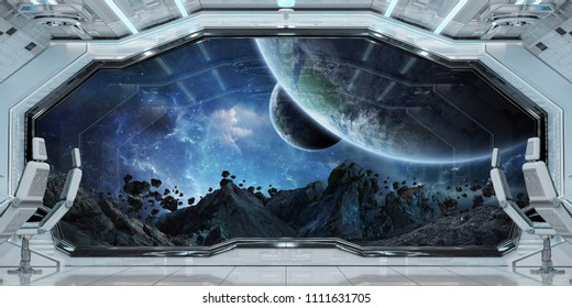 White clean spaceship interior with view on distant planets system 3D rendering elements of this image furnished by NASA