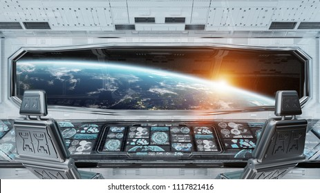 White clean spaceship interior with view on planet Earth 3D rendering elements of this image furnished by NASA