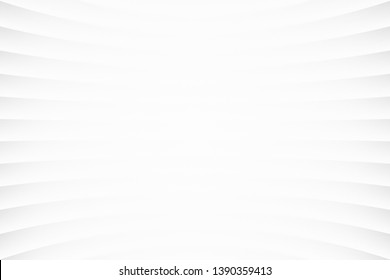 White Clear Blank Subtle Abstract Geometrical Background In Ultra High Definition Quality. Monotone Light Empty Concave Surface. Minimalist Style Wallpaper. Futuristic 3D Illustration