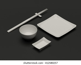 White clear set of dishes for sushi and rolls. Japanese chopsticks, plate, saucers, rice bowl. Clean mock up template with blank for design. Realistic high resolution 3d illustration. Black background