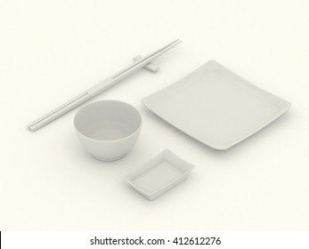 White clear set of dishes for sushi and rolls. Japanese chopsticks, plate, saucers, rice bowl. Clean mock up template with blank for design. Realistic high resolution 3d illustration. White background