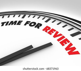White clock with words Time for Review on its face