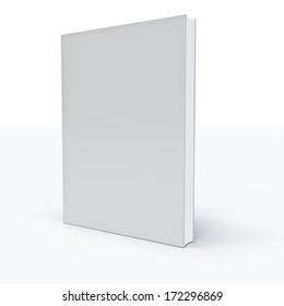 White closed book on white background .