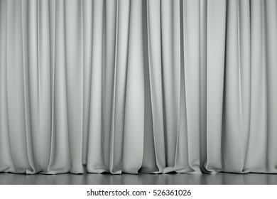 white closed curtain in a theater. Creative 3D illustration for your design