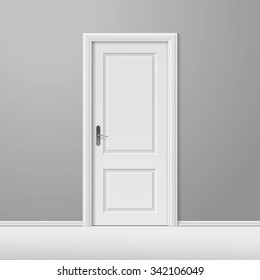 White Closed Door with Frame Isolated on Background