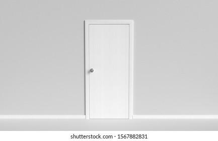 White closed door on white background. 3d illustration