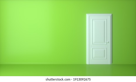 White closed door on green background. Frame on pink Wall in the Empty Room. Interior Design Element. Design Template for Graphics. 3d render