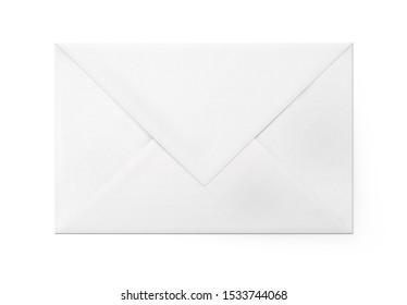 White closed paper envelope for letter - back side.