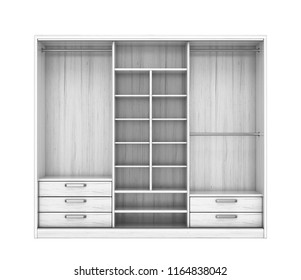 White closet with open doors. Closet compartment. 3d illustration