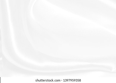 White cloth background abstract with soft waves, wavy fabric.